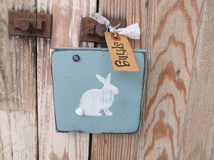 Primitive Chic Easter Bunny with Puffy Tail Hand Painted Sign Plaques