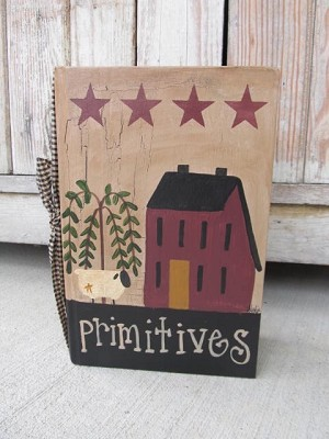 Primitive Burgundy Saltbox Willow Sheep and Stars Hand Painted Vintage Book