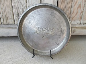 Primitive Antique Vintage Calumet Baking Powder Pie Plate 10 Inch