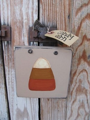 Primitive Fall Candy Corn Autumn Halloween Hand Painted