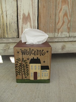 Primitive Cream Saltbox Hand Painted Tissue Box Cover