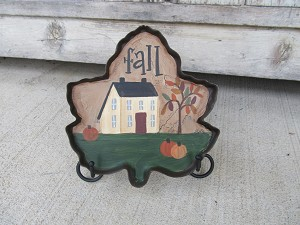 Primitive Autumn Fall Saltbox and Pumpkins Scene on a Tin Leaf  Dish with Stand