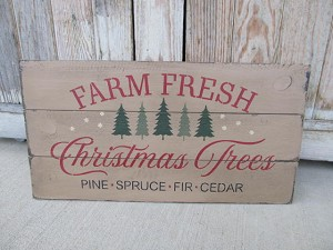 Primitive Hand Painted Farm Fresh Christmas Trees Pallet Sign with Color Choice