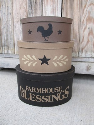 Farmhouse Blessings Rustic Set of 3 Oval Stacking Boxes with Animal Options