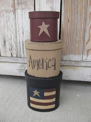 Primitive American Flag Set of 3 Oval Stacking Boxes
