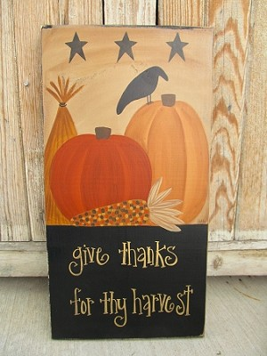 Primitive Give Thanks Fall Pumpkins Wheat and Corn Hand Painted Sign