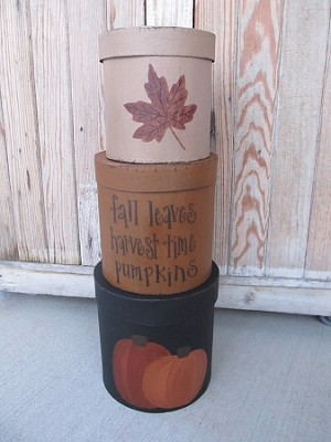 Primitive Large Fall Harvest Time Pumpkin and Leaf Set of 3 Round Stack Boxes