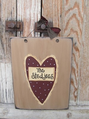 Primitive Personalized Valentine's Day Heart Sign