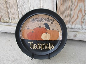 Primitive Personalized Fall Pumpkins Hand Painted Plate