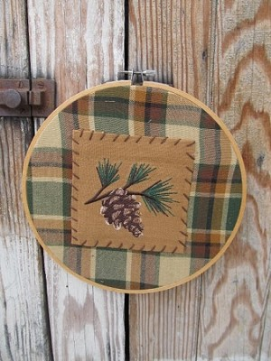 Primitive Hand Made Pinecone Embroidery Hoop Frame