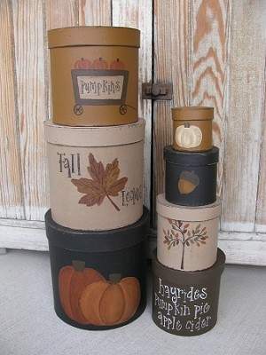Primitive Hand Painted Fall Autumn Set of 7 Round Nesting Stacking Boxes