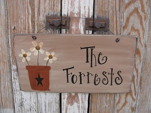 Primitive Personalized Flower Pot with Flowers Hand Painted Sign