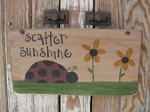 Primitive Lady Bug and Black Eyed Susans Hand Painted Wooden Sign