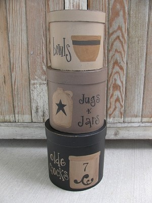Primitive Stoneware Crocks Jugs Jars and Bowls Set of 3 Large Round Hand Painted Stacking Boxes