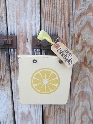 Primitive Lemon Slice Summer Time Hand Painted Wooden Sign