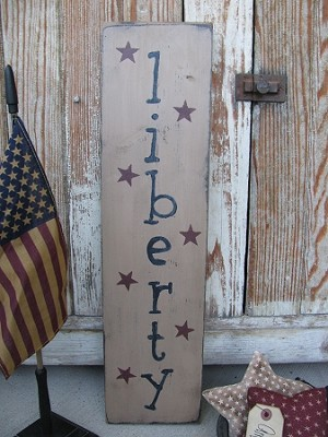 Primitive Americana Liberty and Stars Wood Sign