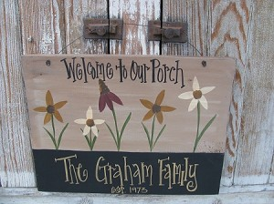 Primitive Hand Painted Multi Colored Wild Flower Personalized Sign