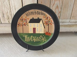 Primitive Autumn Fall Personalized Saltbox Hand Painted Plate