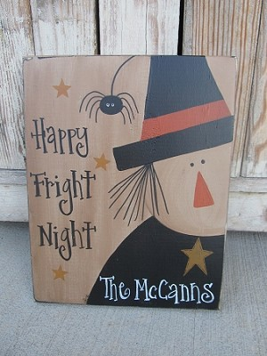 Primitive Personalized Halloween Witch Wooden Sign