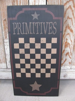 Primitives Star Checker Hand Painted Black Game Board