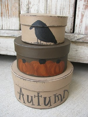 Primitive Pumpkin and Crow Round Stack Boxes Set of 3