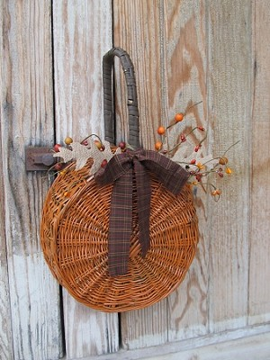 Primitive Pumpkin Shaped Repurposed Basket Decoration