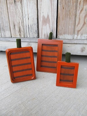Primitive Set of 3 Pumpkin Frames