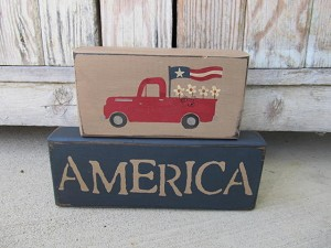 Primitive Hand Painted Red Truck Americana Flag and Daisies Stacker Blocks Set of 2