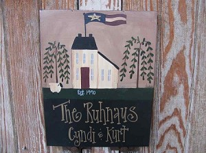 Primitive Saltbox and Flag Personalized Sign