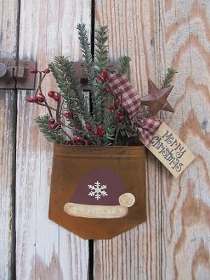 primitive christmas santa hat rusty tin hanging pocket with greens - Primitive Christmas