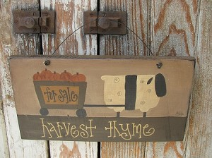 Primitive Autumn Fall Sheep with Pumpkin Cart Hand Painted Wooden Sign
