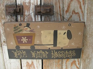 Primitive Winter Sheep with Snowman Cart Hand Painted Sign