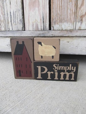 Primitive Simply Prim Saltbox House and Sheep Set of 3 Stacking Blocks