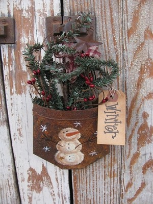 Primitive Winter Snowman Rusty Tin Hanging Pocket