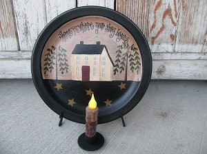 Primitive Story Begins Saltbox House Hand Painted Plate or Grouping
