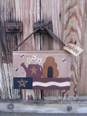 Primitive Americana Summer Thyme Hand Painted Hanging Vintage Book
