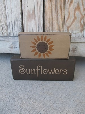 Primitive Sunflower Set of 2 Hand Painted Stacker Blocks with Color Options
