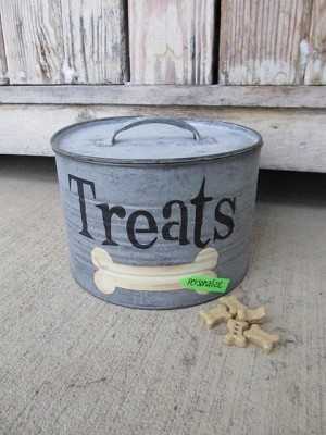 Farmhouse Primitive Personalized Dog Treats with Bone Hand Painted Galvanized Round Storage Container with Lid