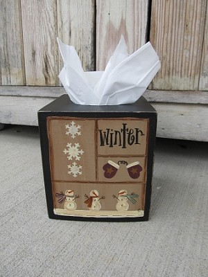 Primitive Winter Sampler Hand Painted Tissue Box Cover